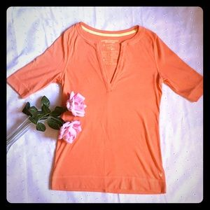 American Eagle Outfitters V-Neck Orange Shirt M